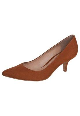 Sapato Scarpin My Shoes Salto Baixo Bico Fino Marrom