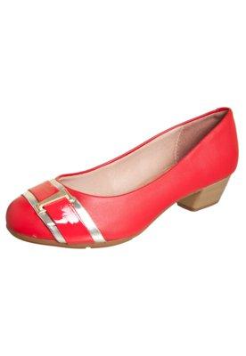 Sapato Scarpin Moleca Tira e Ferragem Vermelho