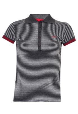 Camisa Polo Calvin Klein Jeans Stripes Cinza
