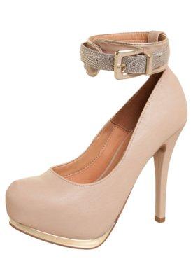 Sapato Scarpin Vizzano Pulseira Metalizada Bege