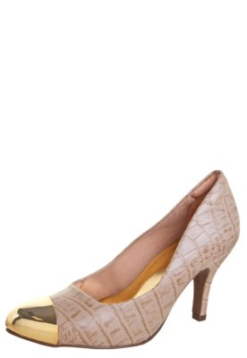 Sapato Scarpin Anna Flynn Fashion Modern Bege