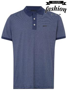 Camisa Polo Lucca Salvatore Striped Azul