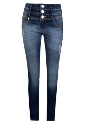 Calça Jeans Lança Perfume Skinny Puídos Azul