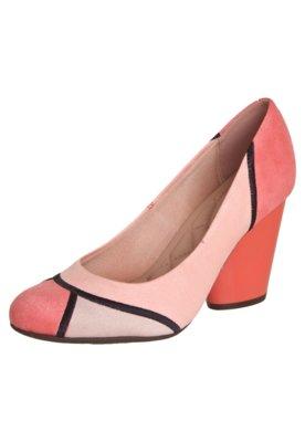 Sapato Scarpin Moleca Recortes Rosa
