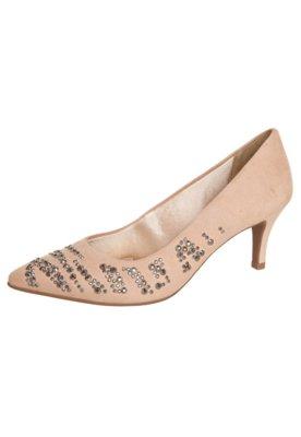 Sapato Scarpin Azaleia Salto Médio Hot Fix Bege
