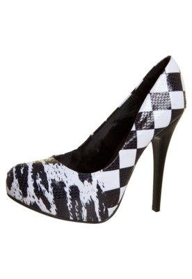 Sapato Scarpin Di Cristalli Liso Meia Pata Interna Estampado...