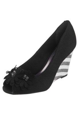 Sapato Scarpin Beira Rio Peep Toe Anabela Flores Preto