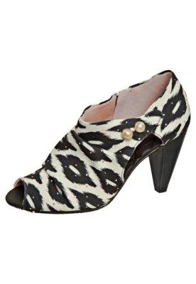 Ankle Boot Estampada Preta/Off-white - Moleca