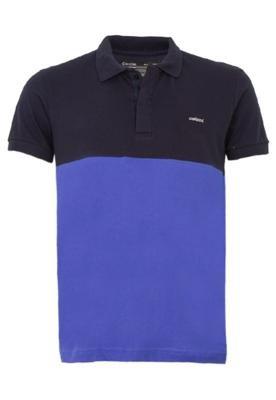 Camisa Polo Colcci Brasil Bicolor Azul