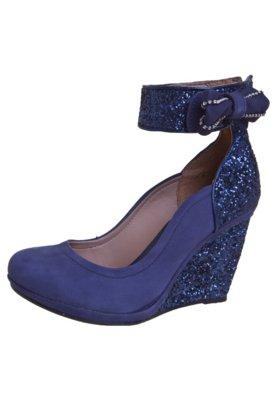 Sapato Scarpin Tanara Anabela Pulseira Laço Strass Azul