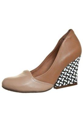 Sapato Scarpin Dayflex Slipper Salto Grosso Bicolor Bege