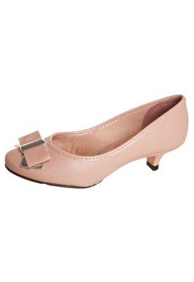 Sapato Scarpin Moleca Laço Detalhe Metalizado Nude