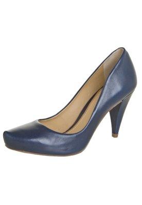 Sapato Scarpin Dumond Salto Médio Bico Tubarão Azul