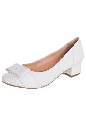 Sapato Scarpin Ramarim Salto Bloco Laço Branco