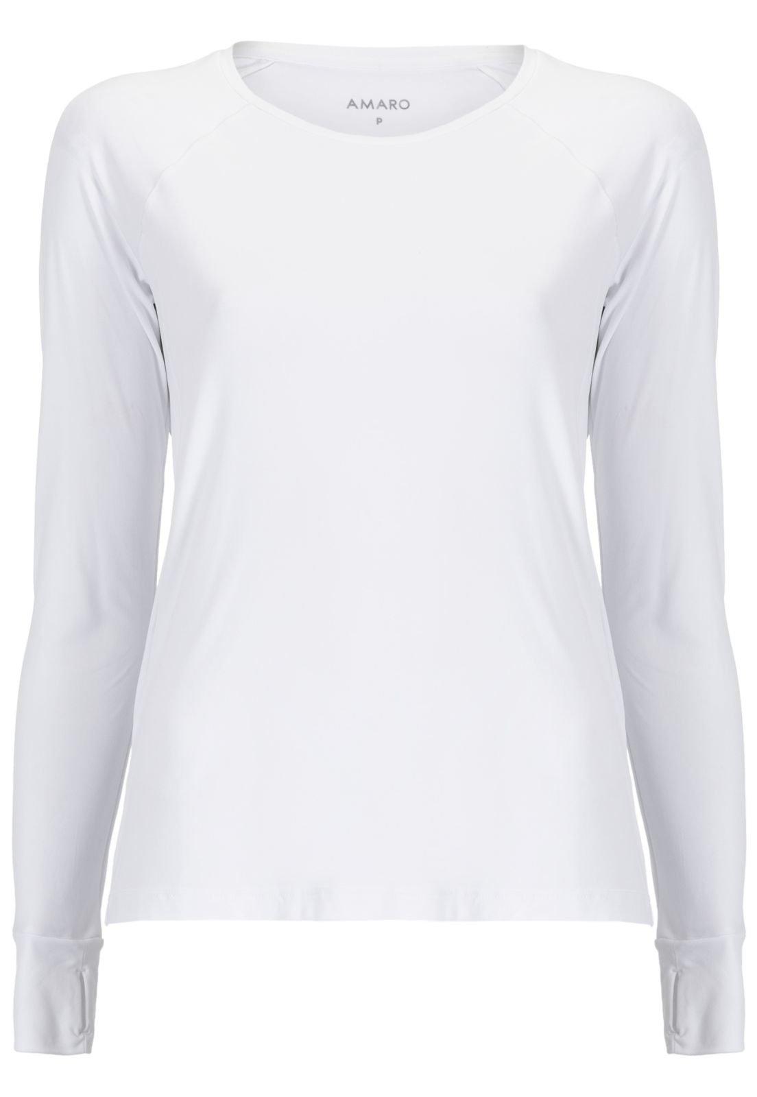 Camiseta AMARO Manga Longa Esportiva Branco - Compre Agora