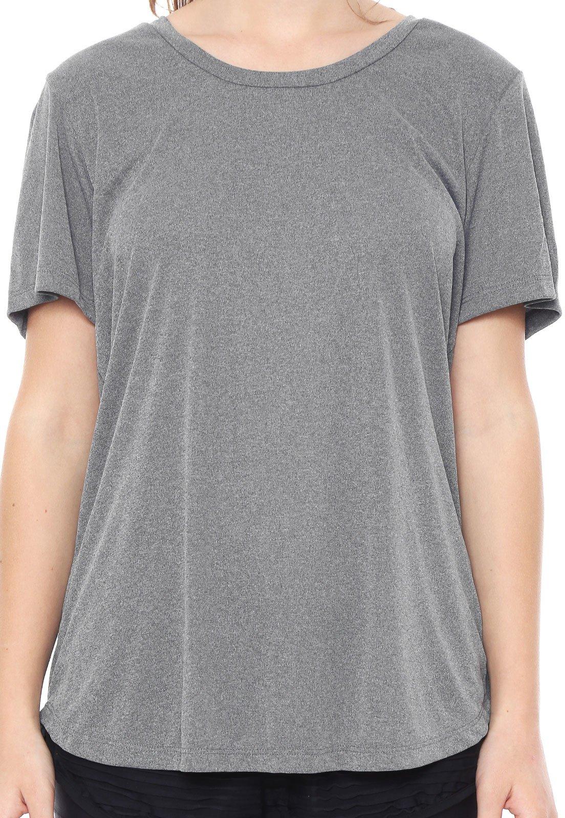 Camiseta Alto Giro Recorte Tule Cinza/Preta - Compre Agora
