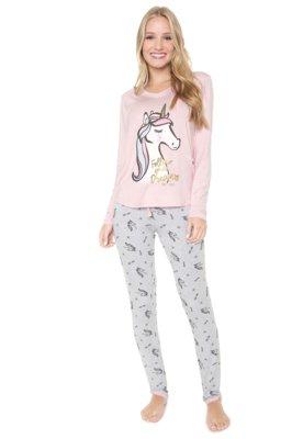 Menor preço em Pijama Any Any Unidreams Rosa/Cinza