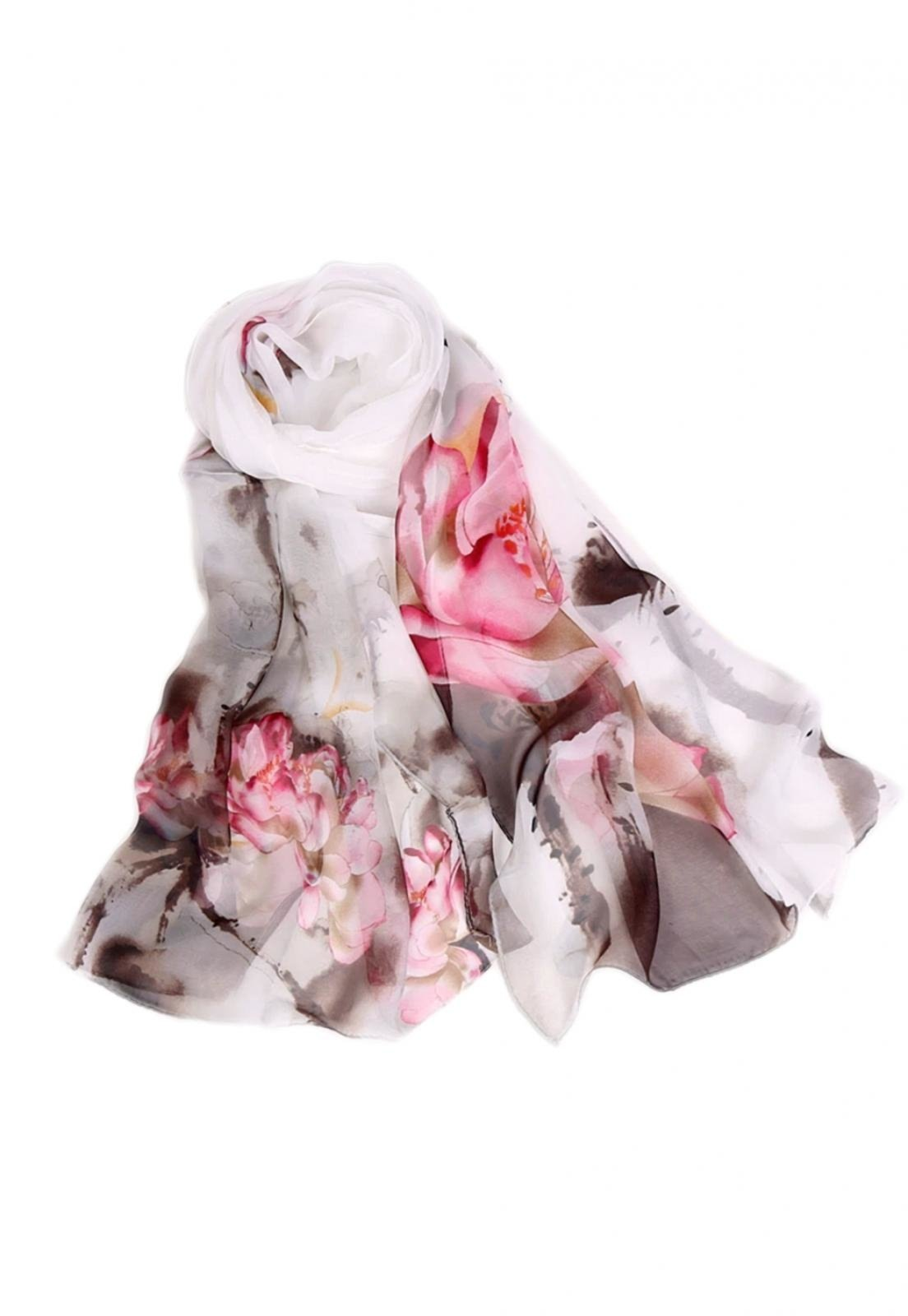 Lenço de Chiffon Artestore Estampado Aquarelado Grande Echarpe Xale Branco - Marca Artestore
