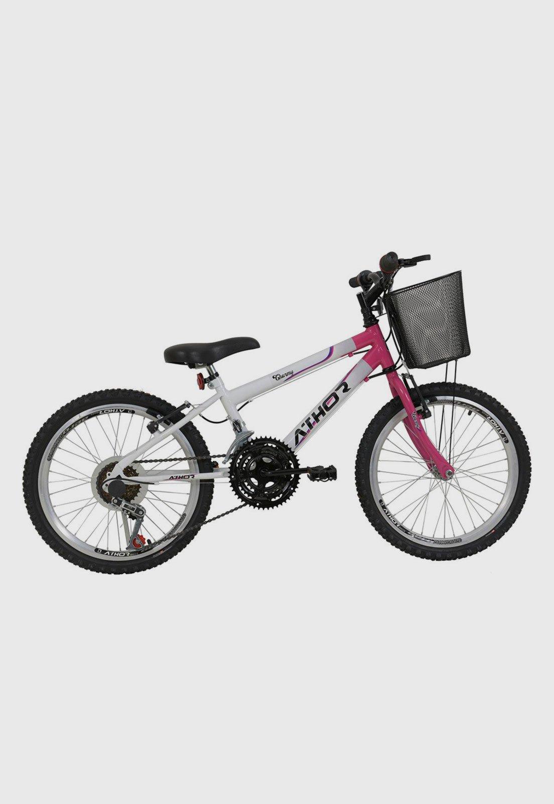 Bicicleta Athor Bike Charme Aro 20 Rígida 18 Marchas - Branco/rosa