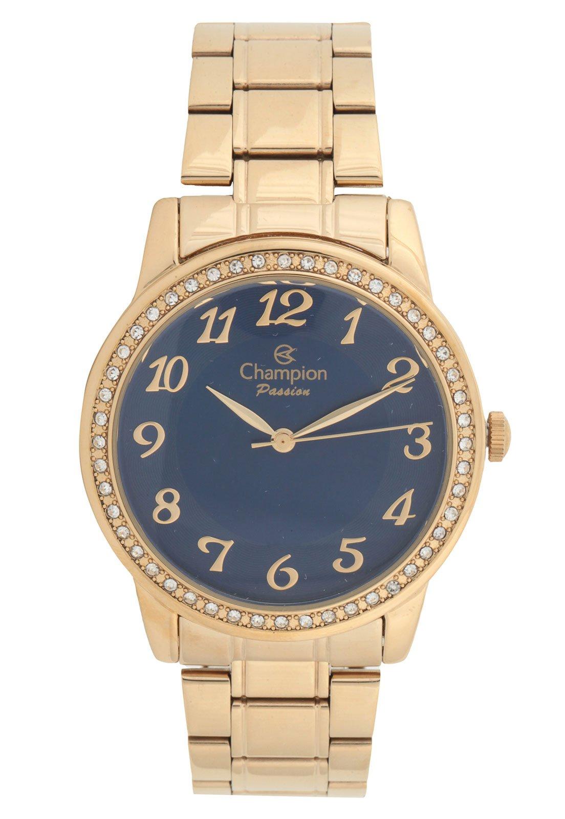 Kit 3pçs Relógio Champion CN29463O Dourado/Azul-Marinho - Compre Agora