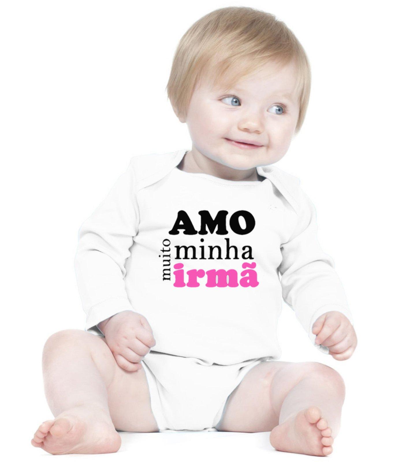 Body Criativa Urbana Bebê Frases Amo Minha Irmã Manga Longa Branco
