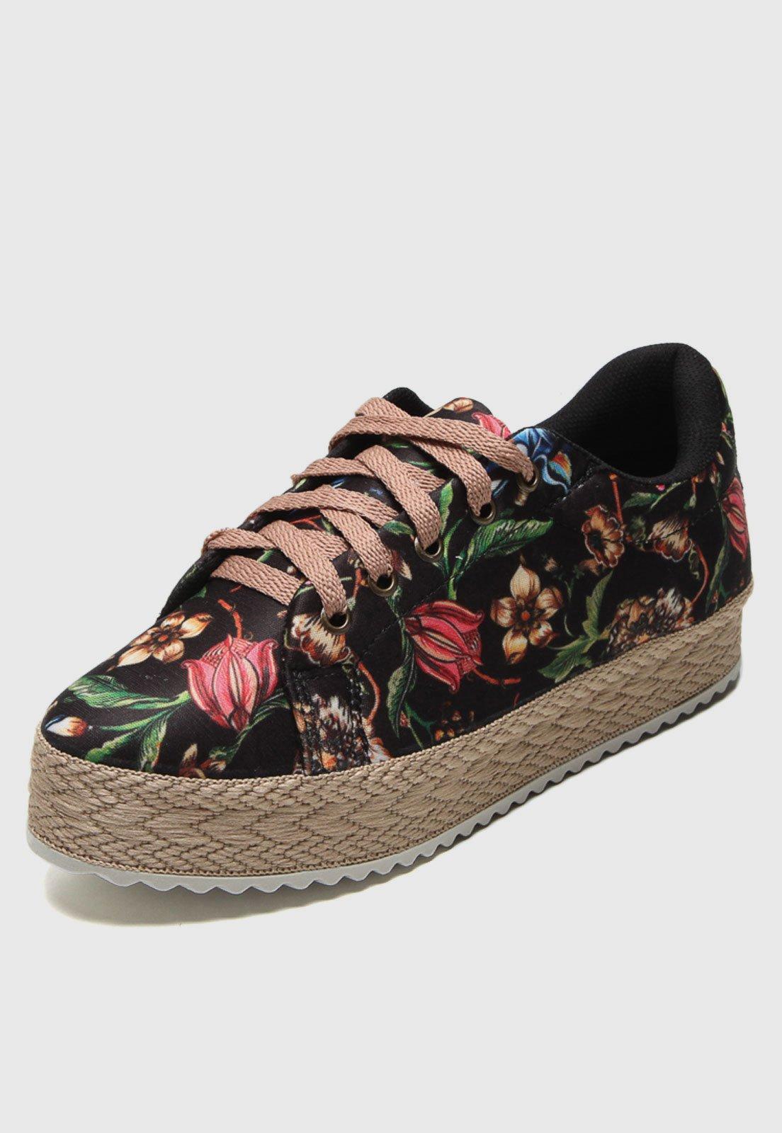 Tênis DAFITI SHOES Floral Preto - Marca DAFITI SHOES