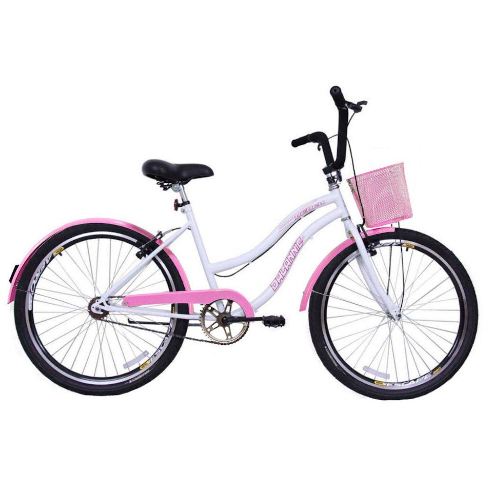 Bicicleta Dalannio Bike Beach Aro 26 Rígida 18 Marchas - Branco/rosa
