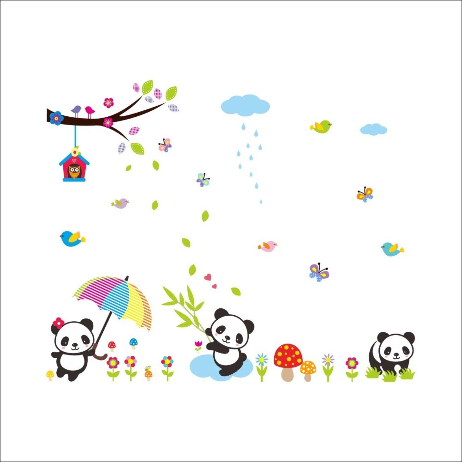 Adesivo De Parede Divanet Urso Panda Bebe Colorido Compre Agora