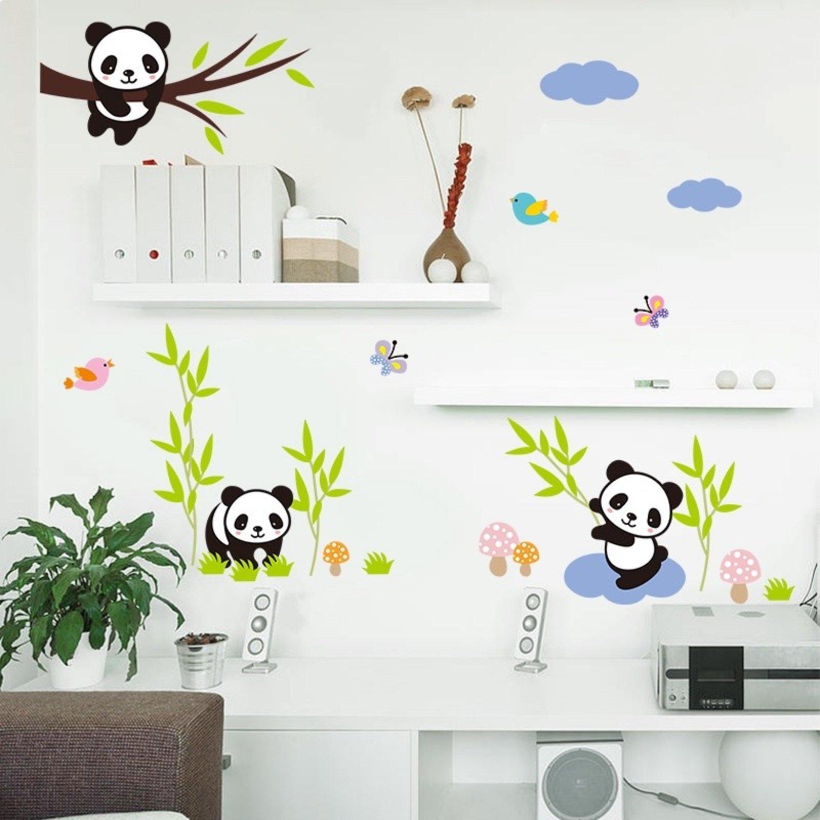 Adesivo De Parede Divanet Urso Panda Colorido Compre Agora