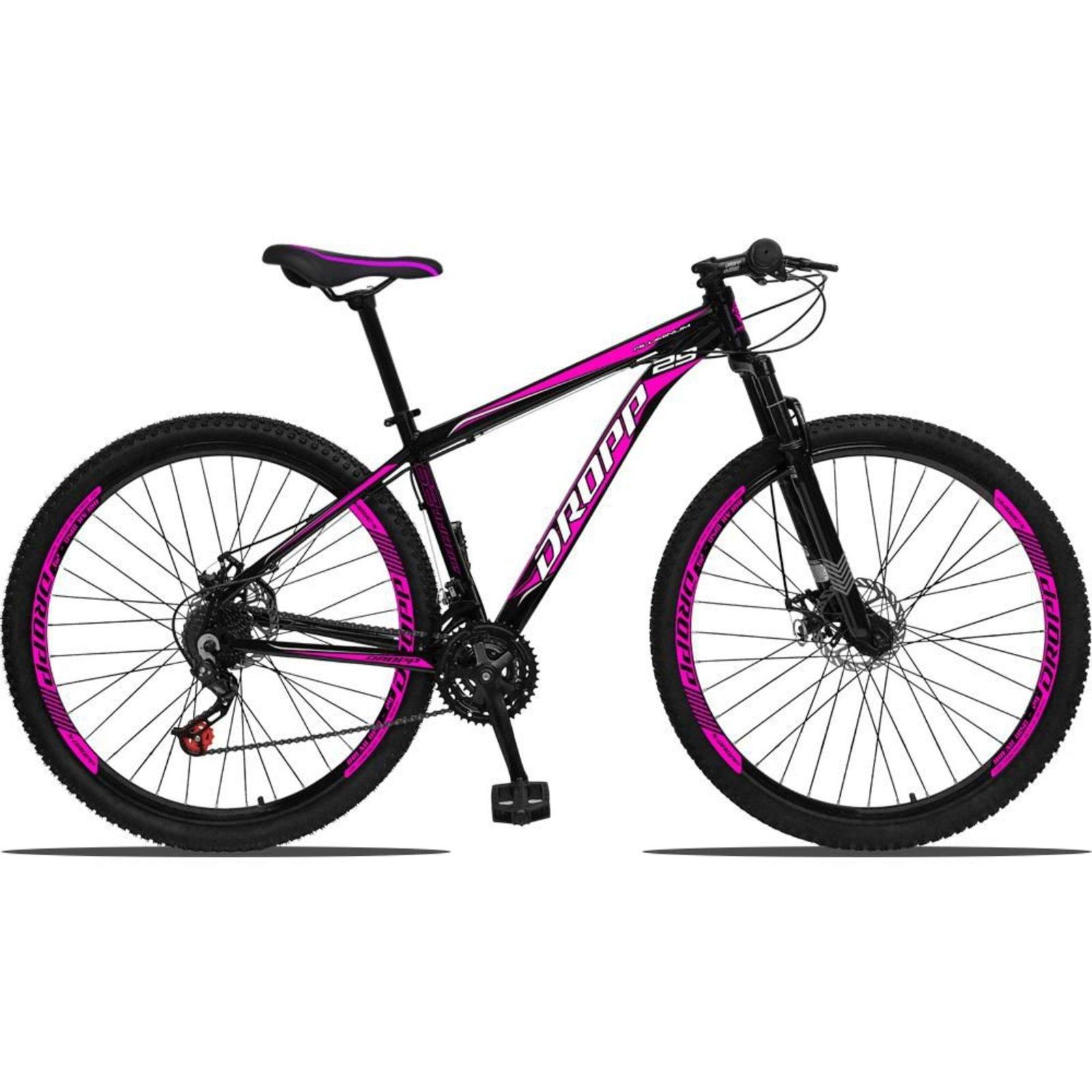 Bicicleta Dropp Aluminum T15 Aro 29 Susp. Dianteira 21 Marchas - Preto/rosa
