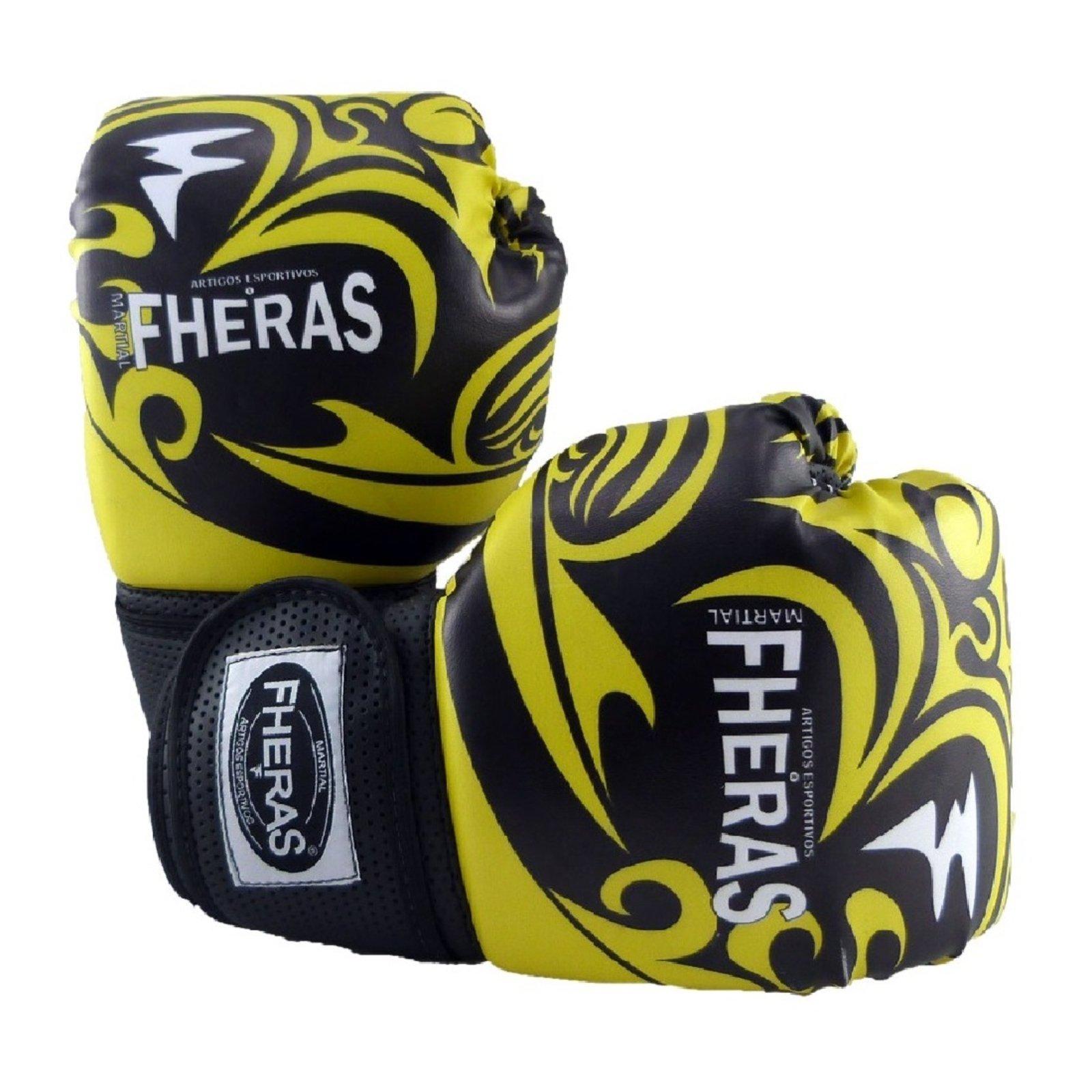 Kit Boxe Muay Thai Fheras New Top Luva Band Bucal Caneleira Free Tribal Amarelo 012 - Compre Agora