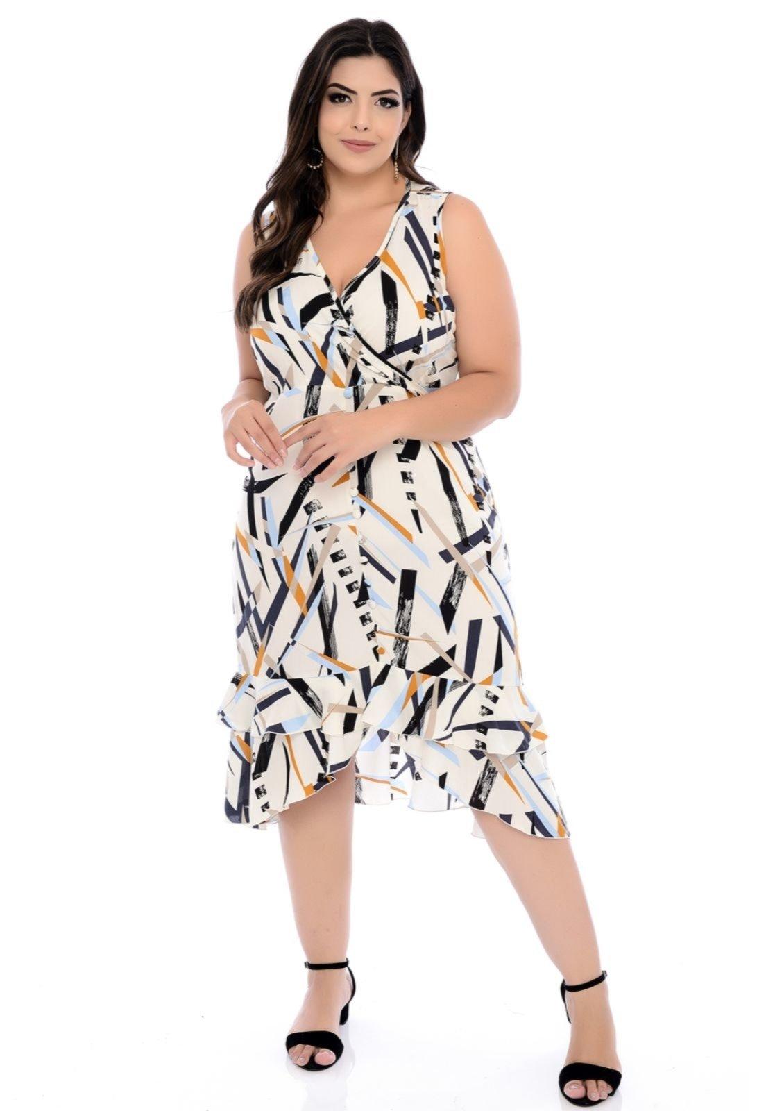 Vestido Forma Rara Plus Size Midi Viscose Estampado 58