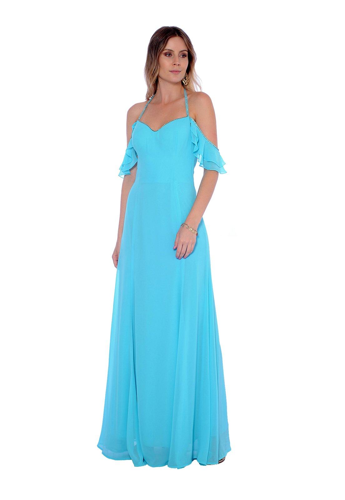 Vestido Gowara Festa Azul Turquesa