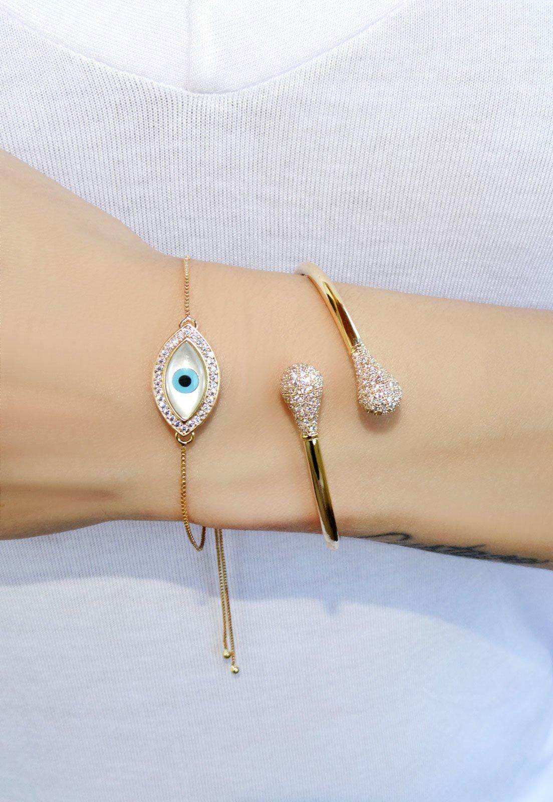 Bracelete Infine Rígido Cravejado Na Ponta Banhado A Ouro - Marca Infine