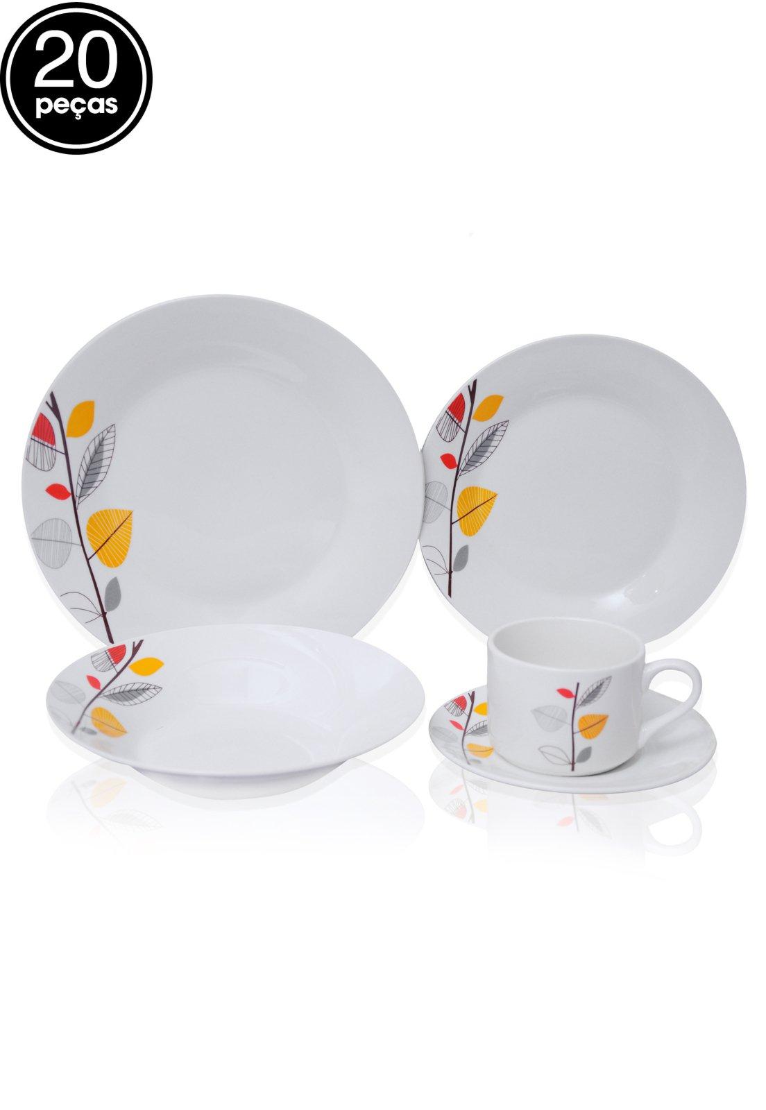 Image of: Aparelho De Jantar Inova 20 Pecas Floral Pretty Branco Compre Agora Dafiti Brasil
