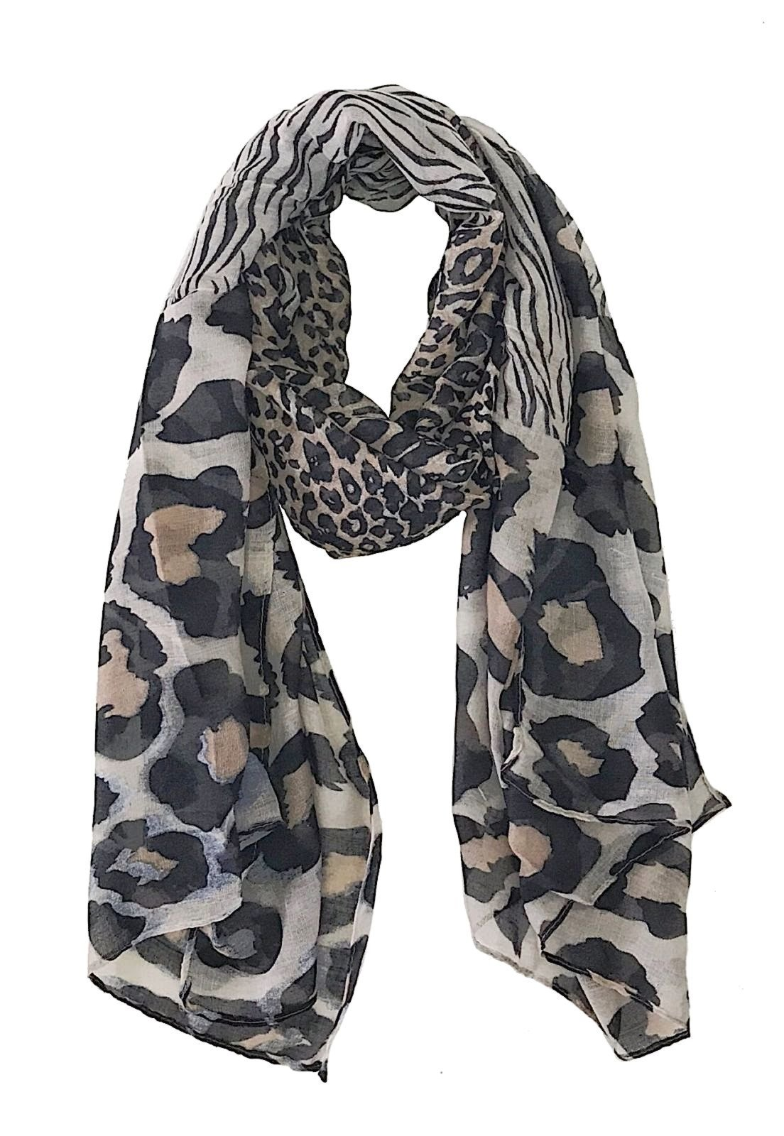 Lenço Its! Animal Print Bege/Preto - Marca Its!