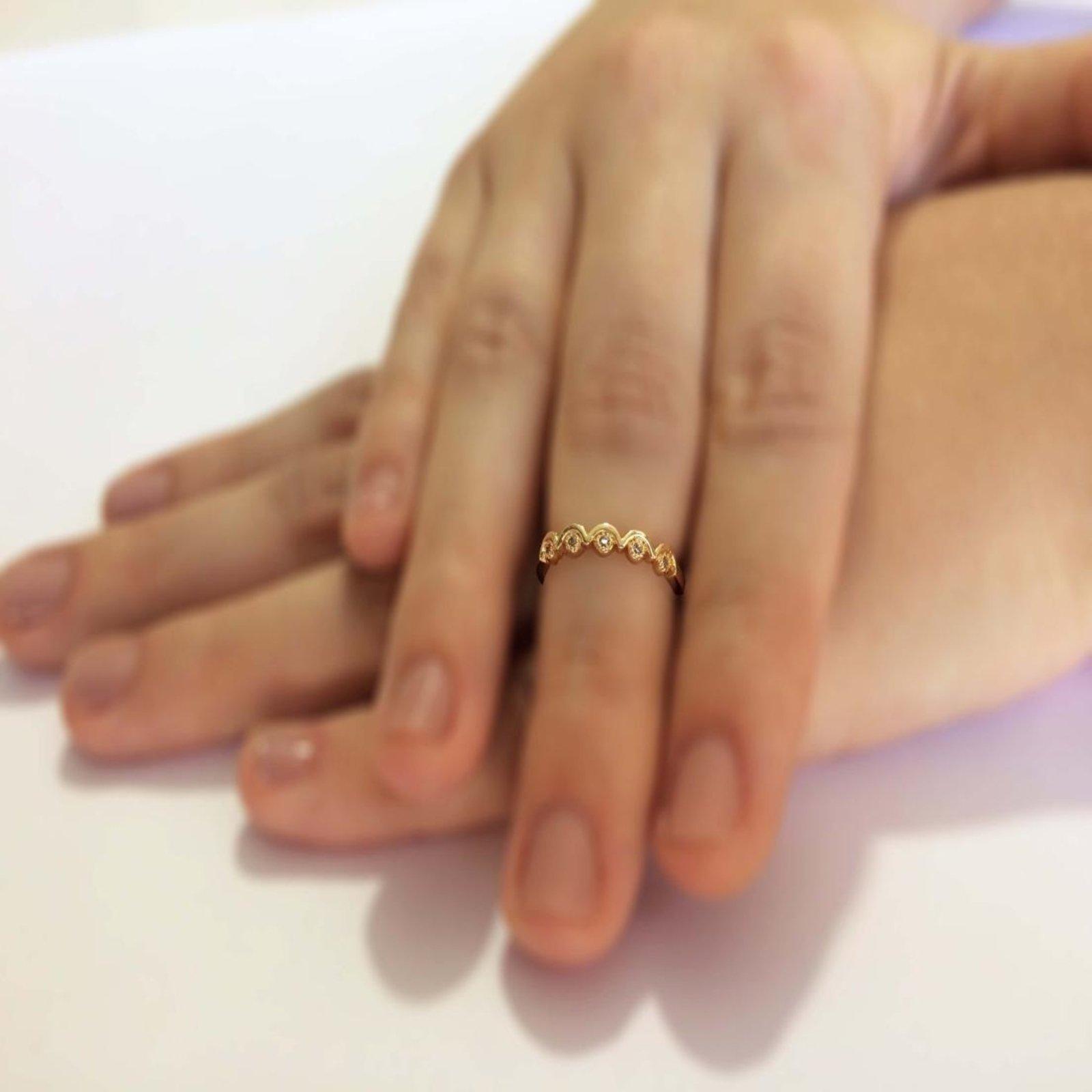 Anel de Falange Semi Joia Ondas com micro zircônia - Compre Agora