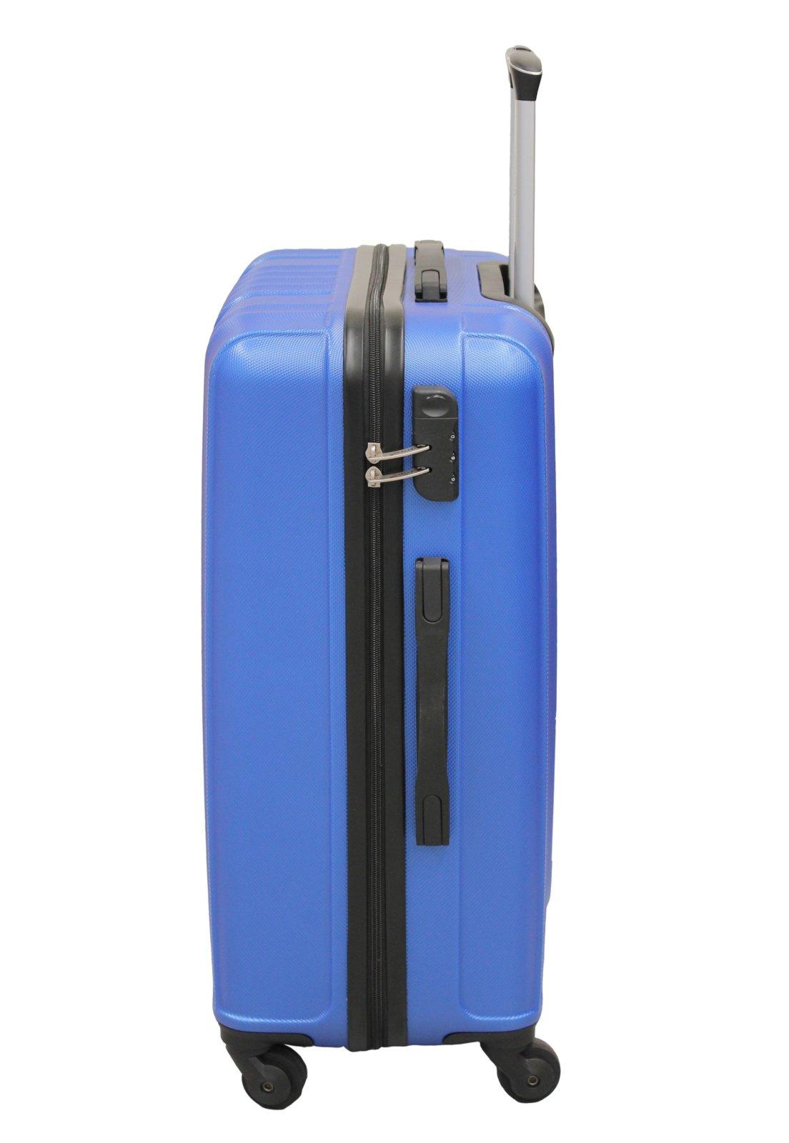 Mala de Viagem com trava de segurança 4 rodinhas alça de carrinho LS MA8106 tamanho médio  cor azul - Compre Agora