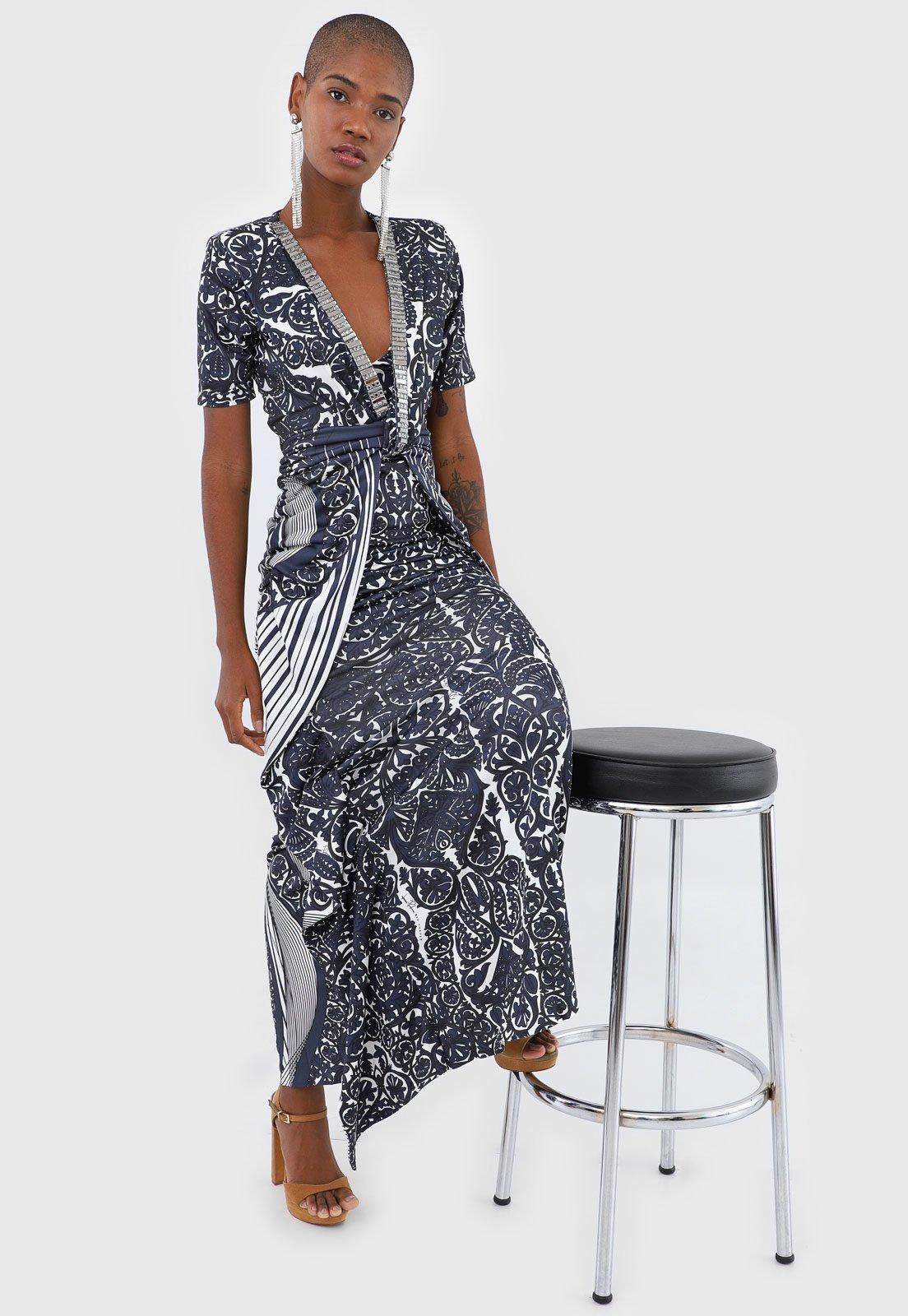 Vestido lança perfume feminino azul estampado com