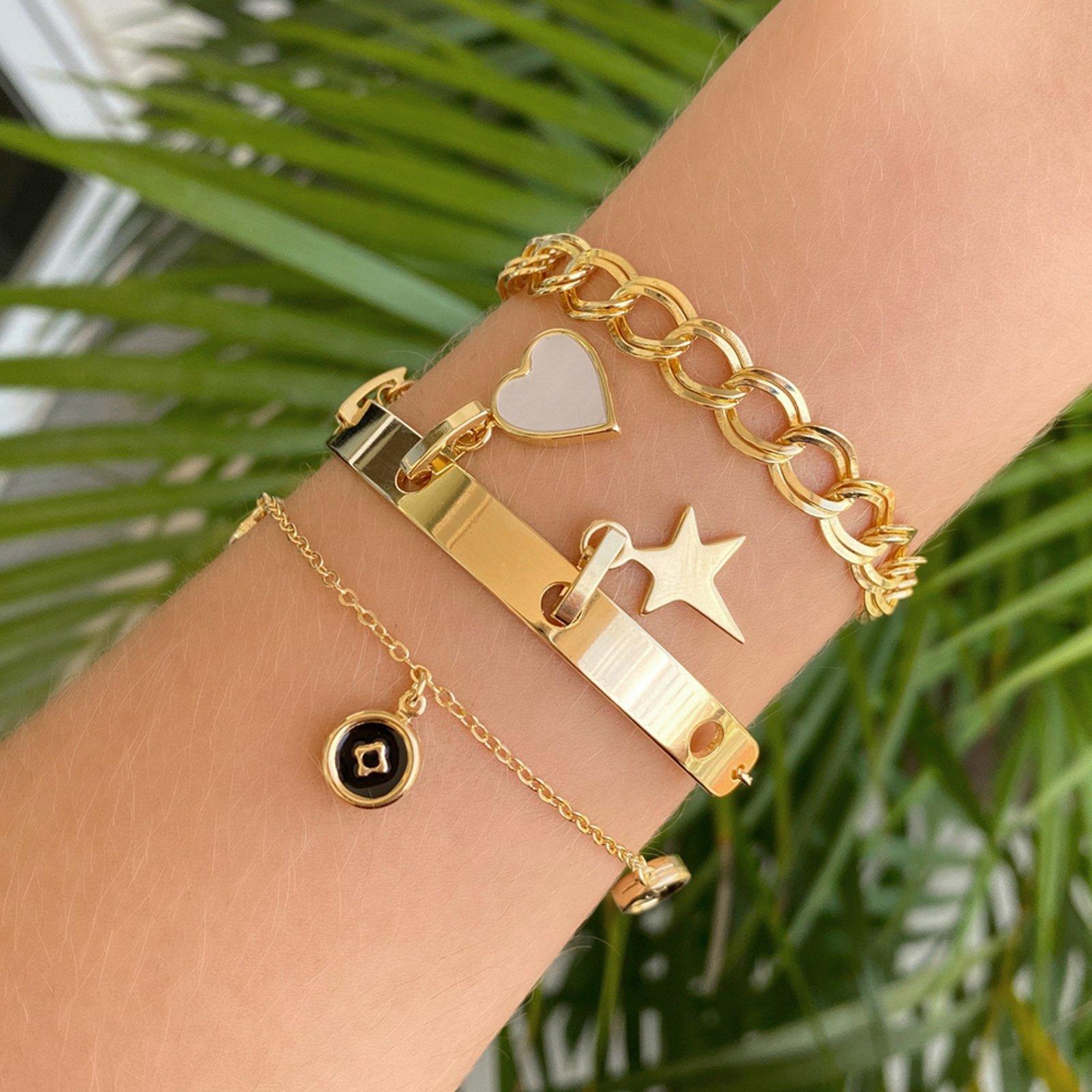 Bracelete Espelhado Réplica Pingentes Removíveis - Marca Lua Mia Joias
