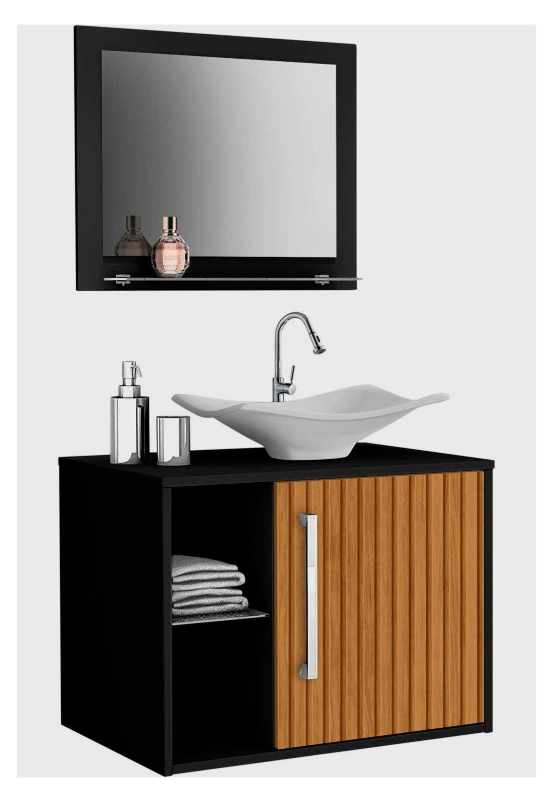 Gabinete Banheiro Baden C Cuba E Espelheira Preto Moveis Bechara Compre Agora Dafiti Brasil