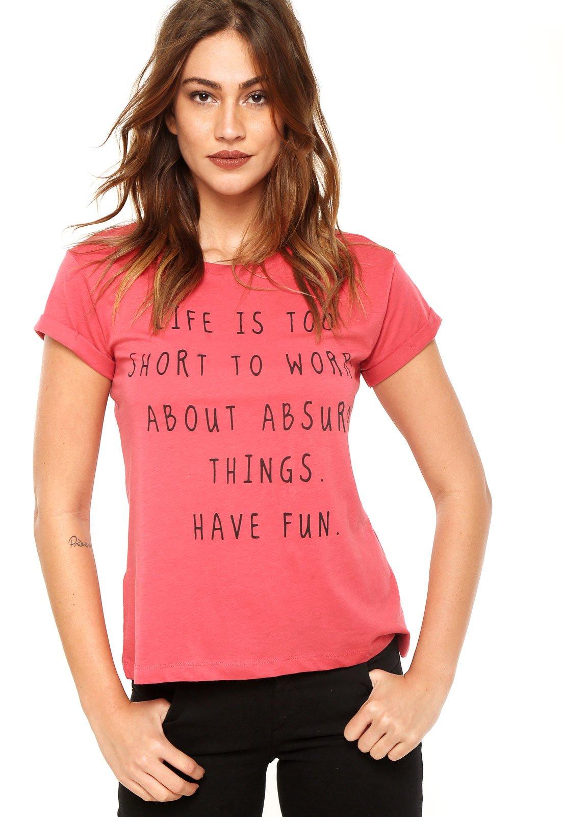Camiseta Mng Barcelona Texto Rosa Compre Agora Kanui Brasil