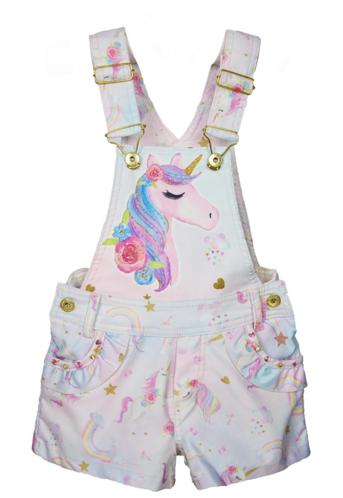 Jardineira Infantil Mini Miss Unicornio Rosa Compre Agora Dafiti Brasil