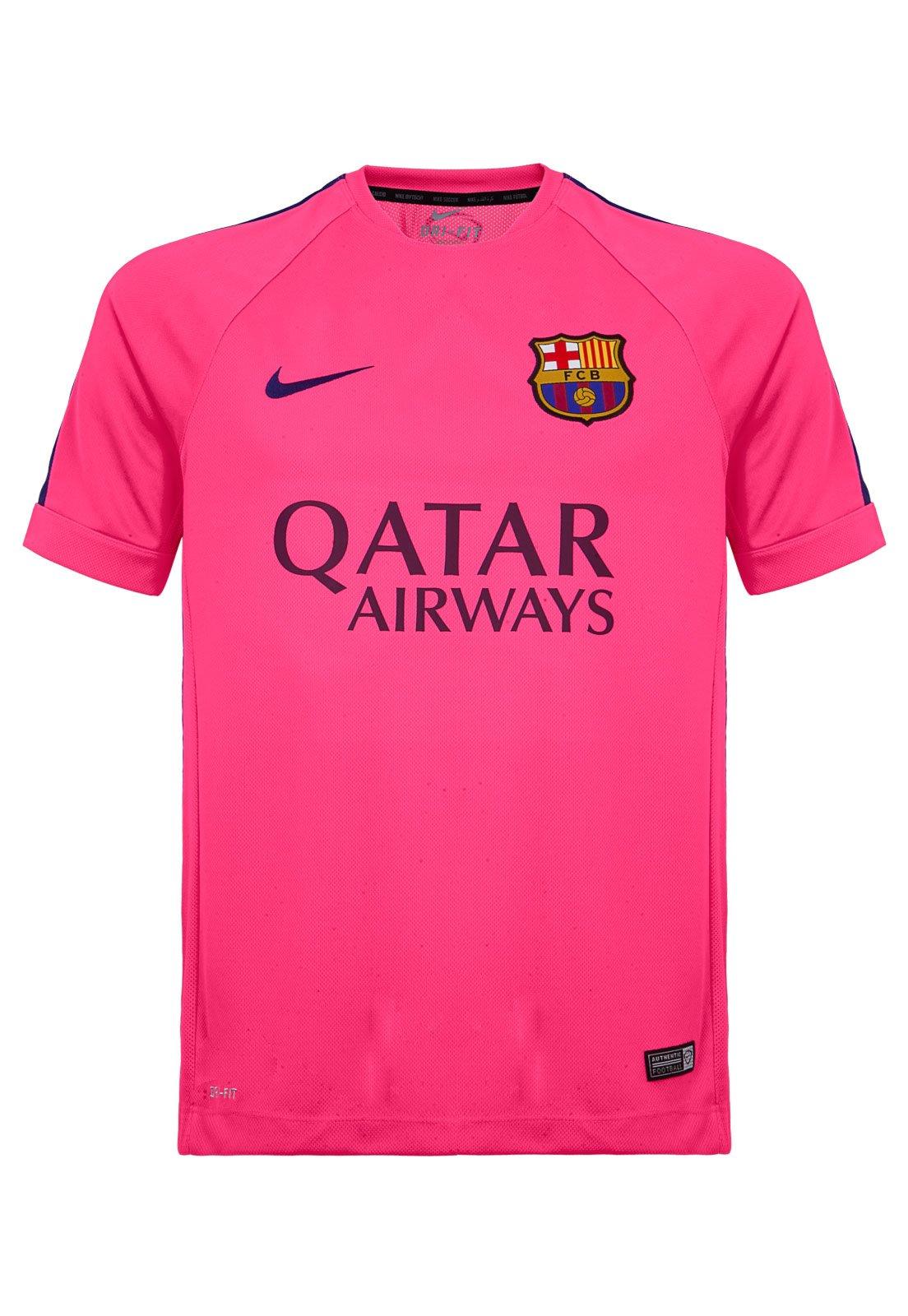 Camiseta Nike Barcelona Squad Sdln Wvn Wup Rosa Compre Agora Dafiti Brasil