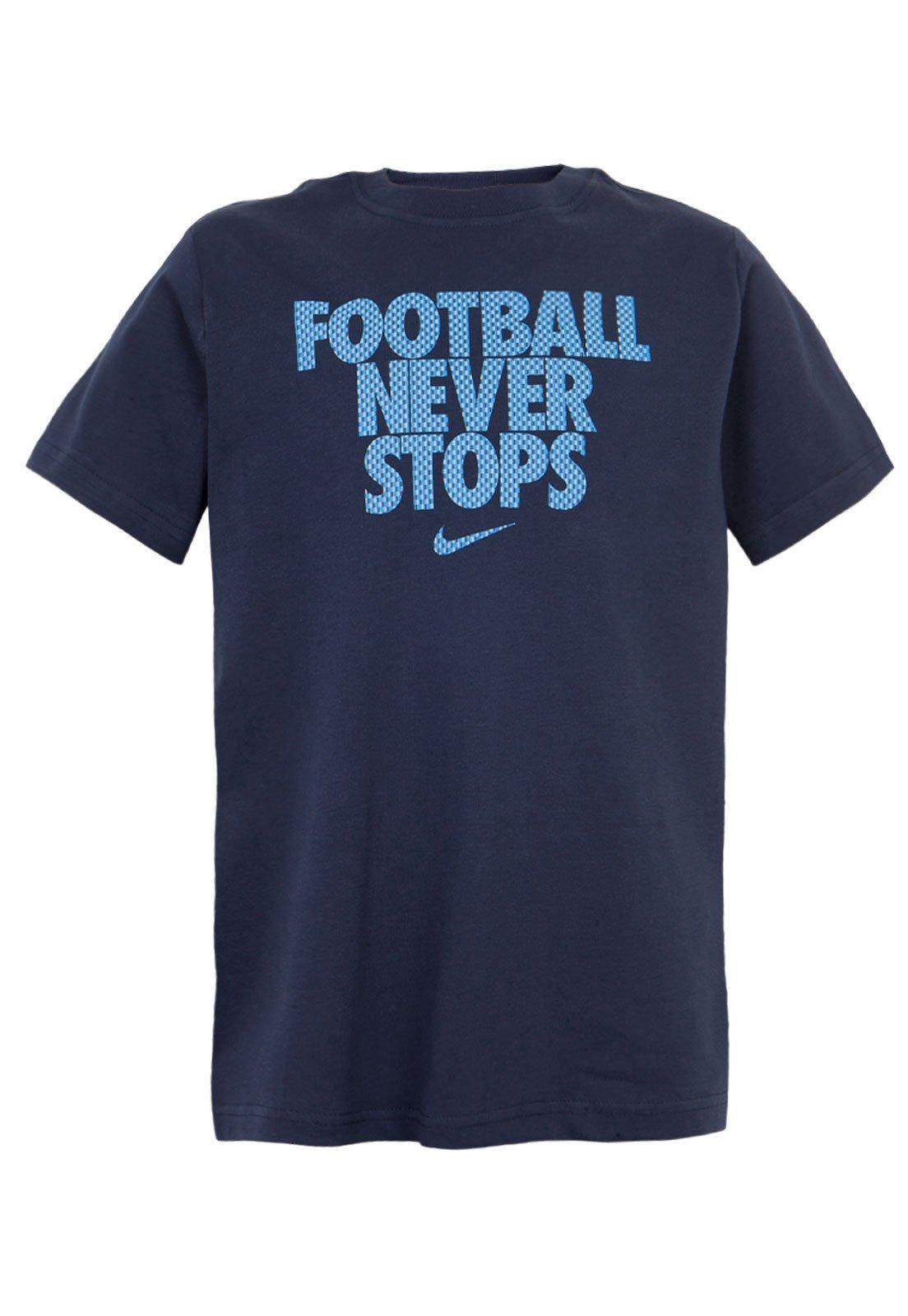 pálido Sobriqueta Peatonal  Camiseta Nike Football NVR Stops TD Azul - Compre Agora   Dafiti Brasil