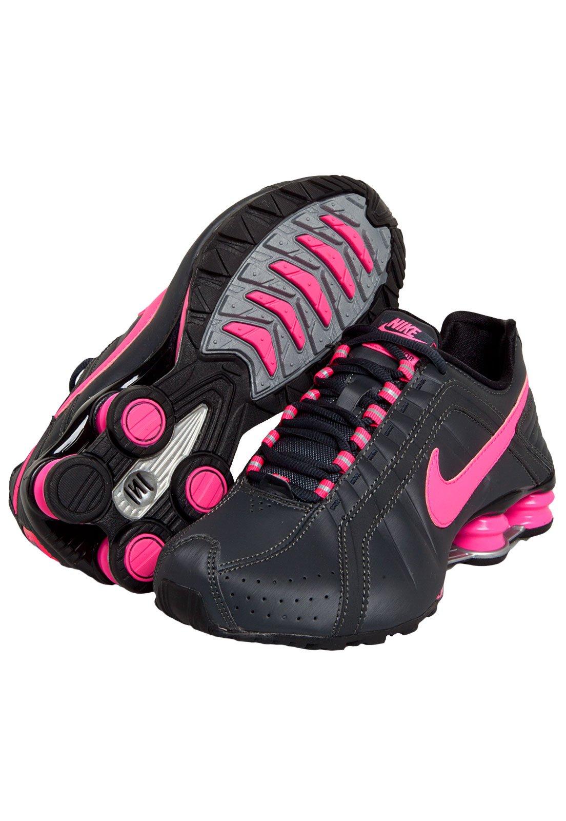 nike shox junior feminino rosa e preto
