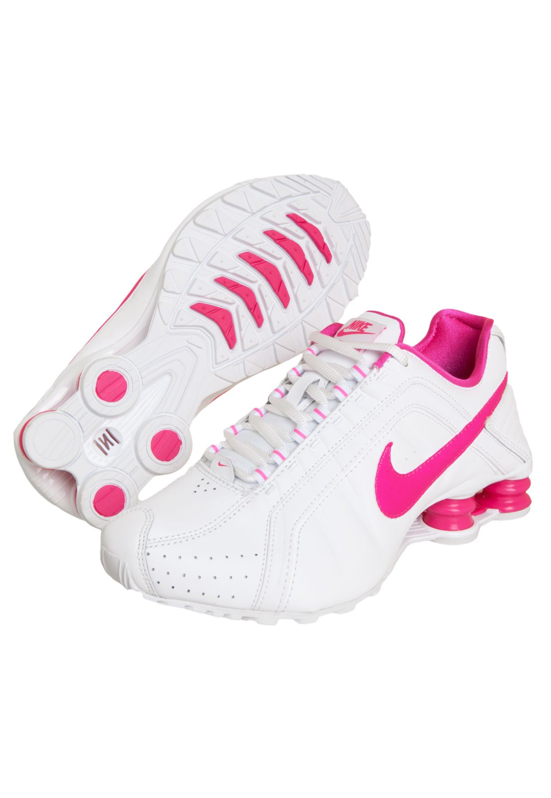 nike shox junior feminino branco e rosa