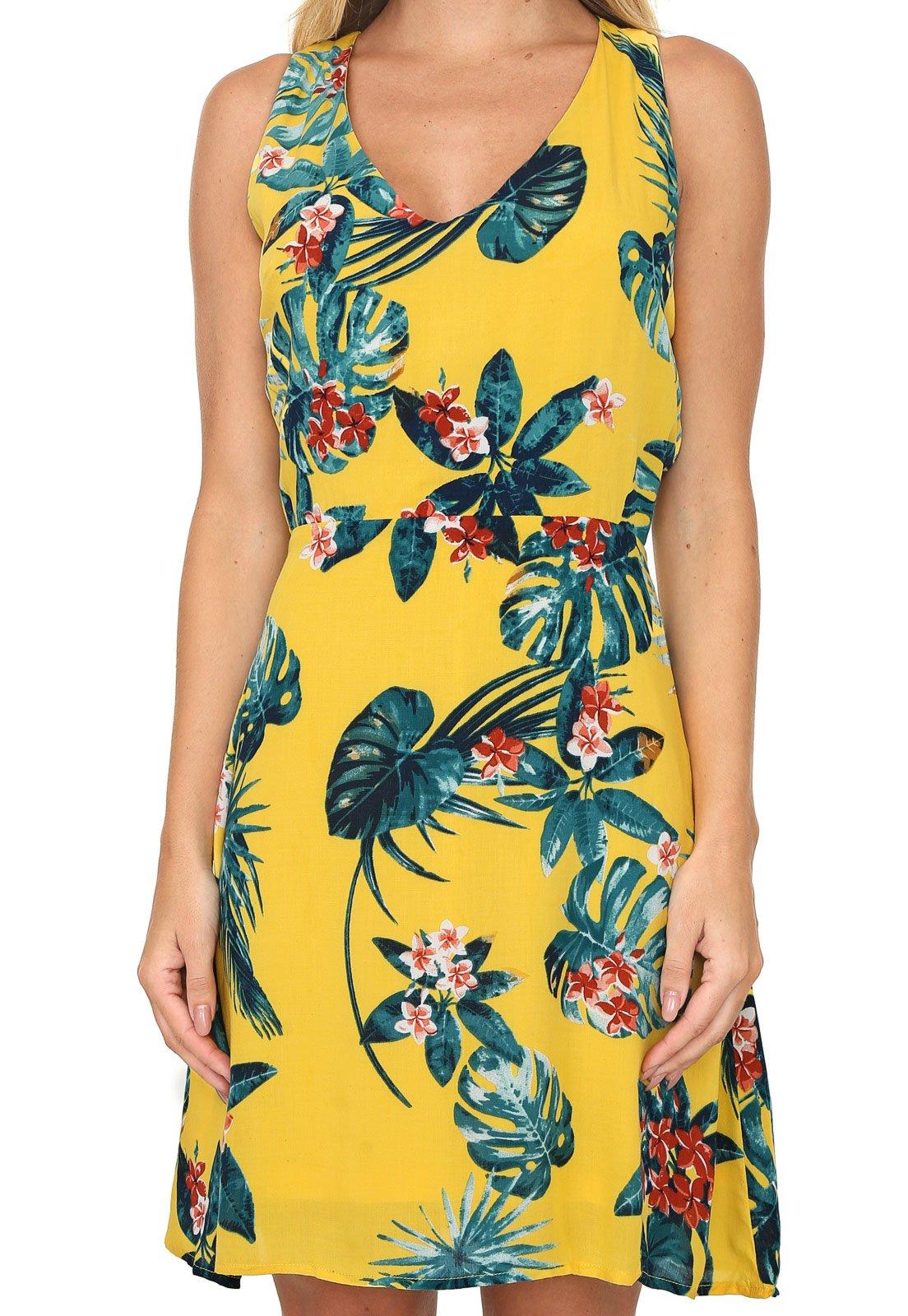 Vestido Queens Paris Curto Floral Amarelo - Marca Queens Paris