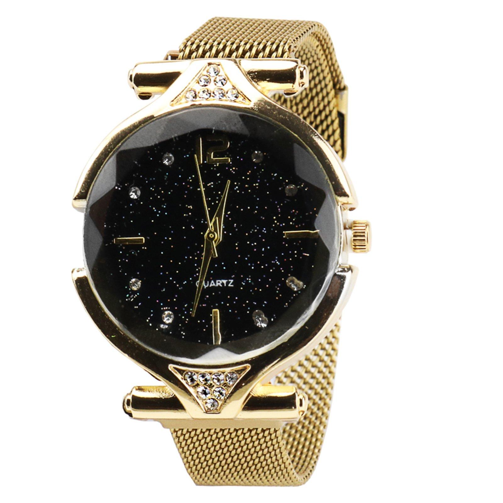 Relógio Magnético Feminino Com Brilho Dourado - Marca Rebento