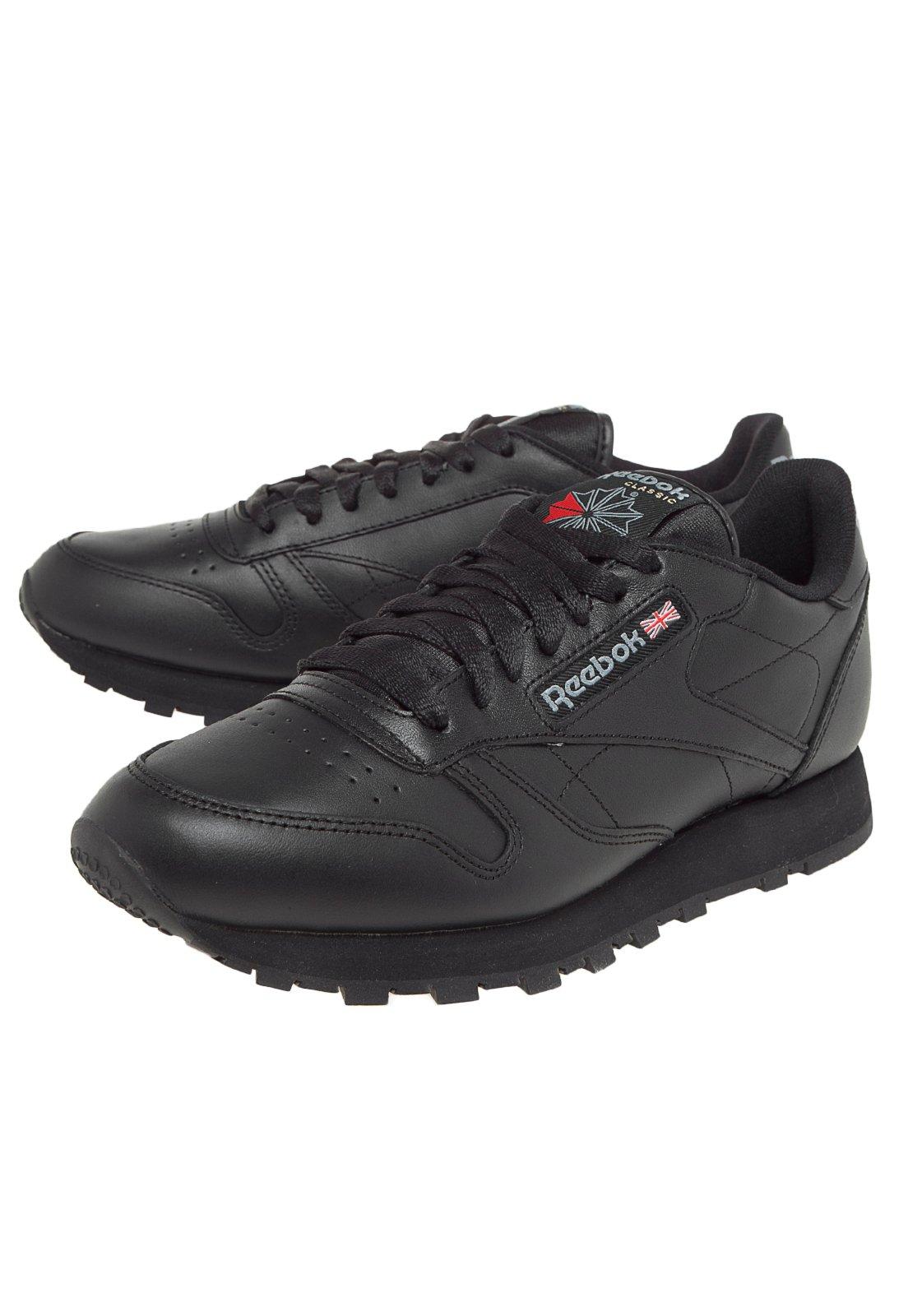 reebok classic leather preto e branco